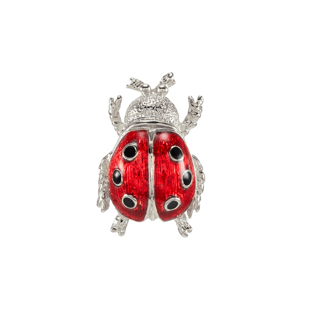 Silvertone Red Lady Bug Pin