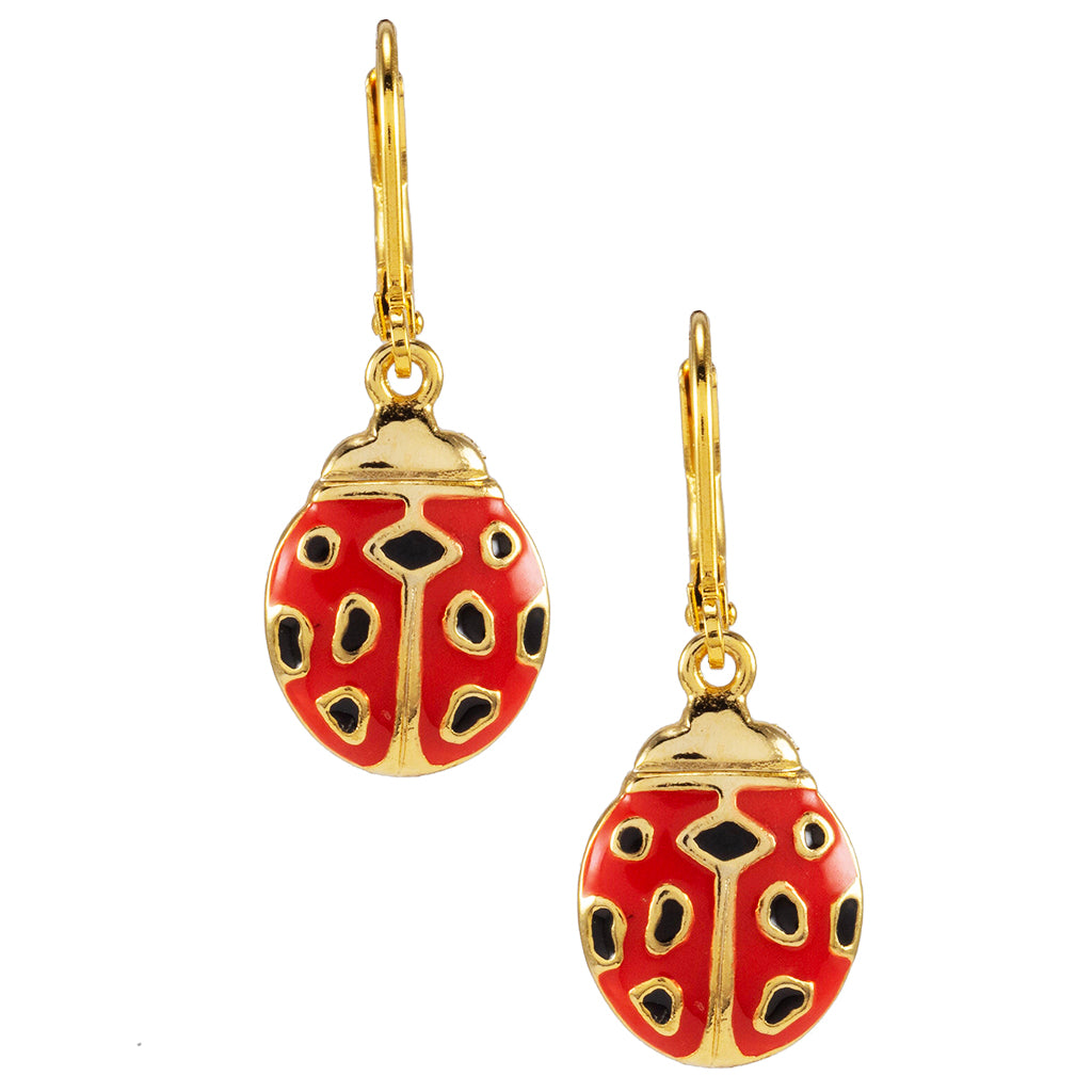 Goldtone Red Lady Bug Drop Earrings