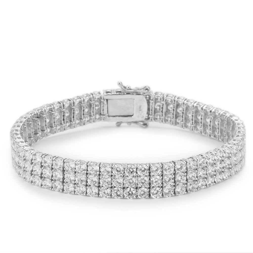 Sterling Silver CZ Three Row Bracelet.