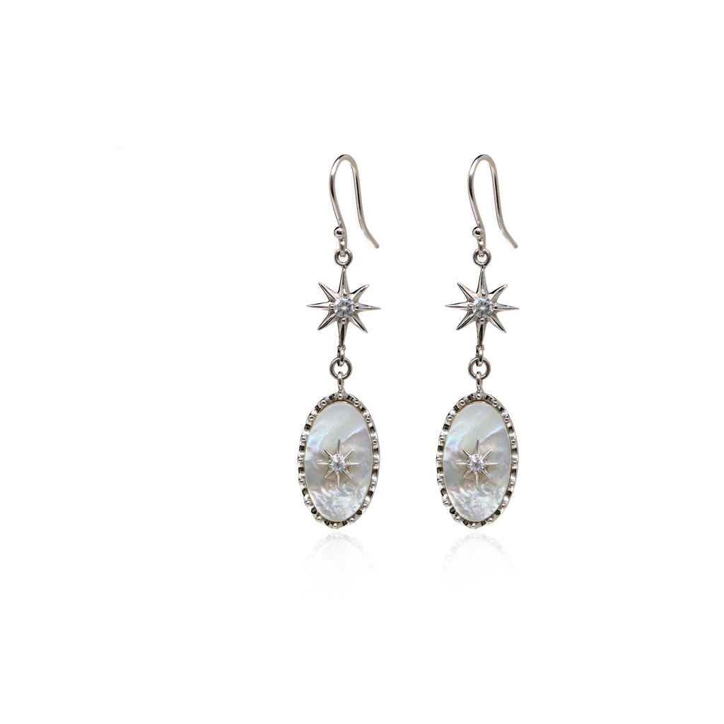 Sterling Silver Mother Of Pearl Cubic Zirconia Drop Earrings