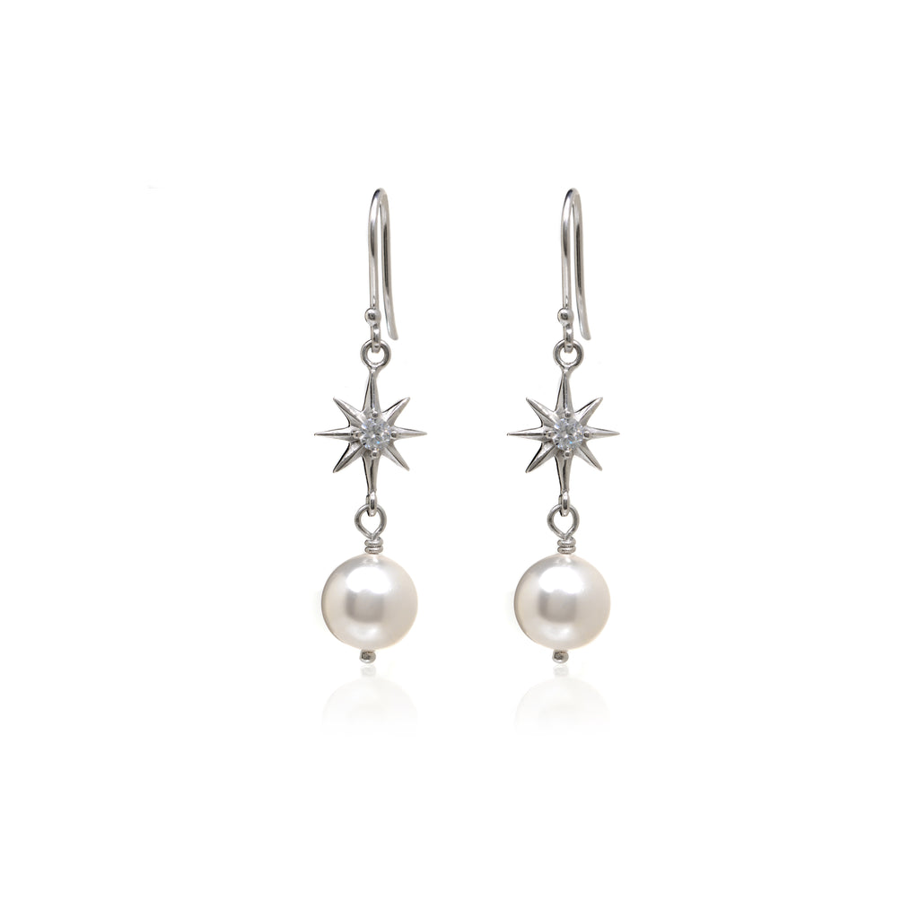 Sterling Silver Cubic Zirconia Pearl Drop Earrings