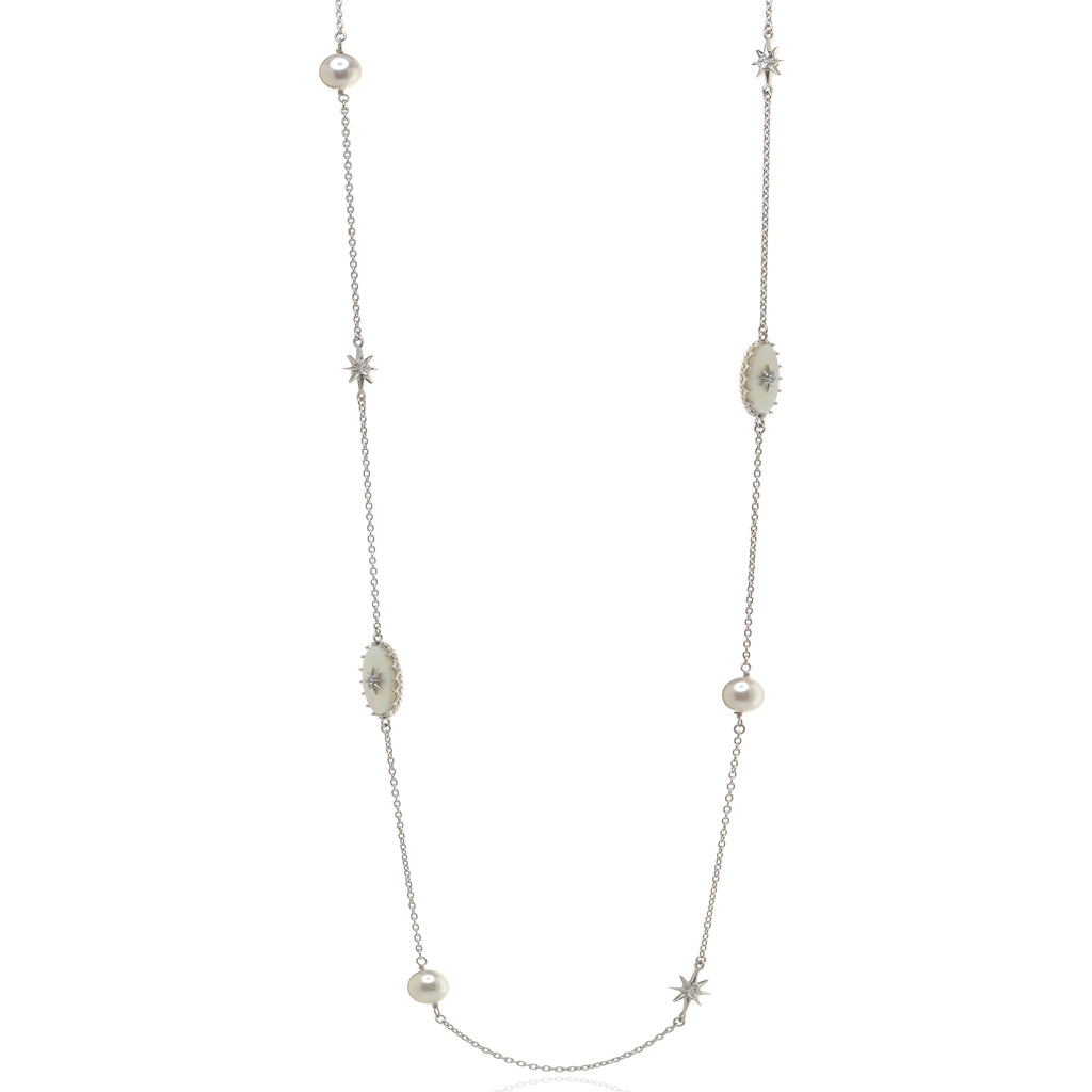 "32"" Sterling Silver Mother Of Pearl and CZ Necklace"