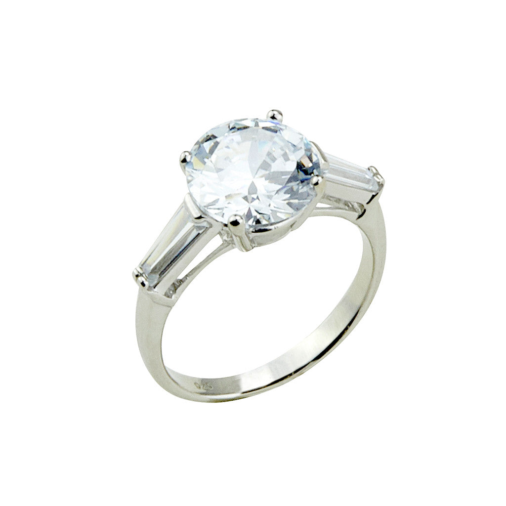 Sterling Silver Round CZ Ring w/ Baguettes