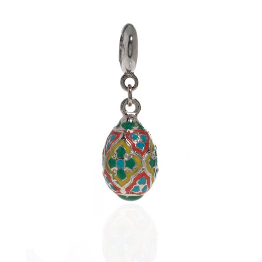 Me Me™ Silver Tone Green & Blue Cross Egg Drop Charm