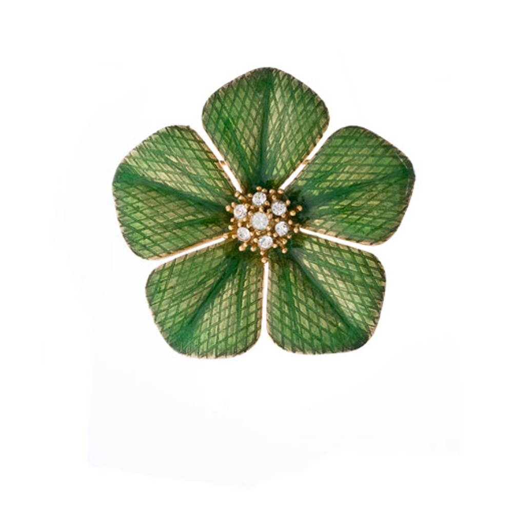 Garden of Love Green Flower Pin