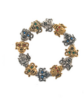 Gargoyles Gold and Silver Tone with Mixed Crystal Eyes Stretch Bracelet