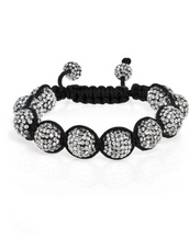 Clear Crystal on Black Crystal Ball Bracelet