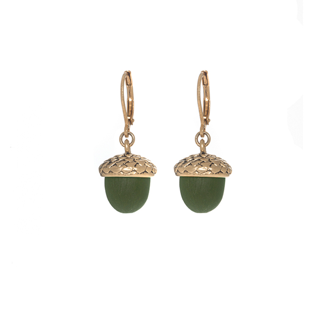 Winter in the Garden Green Drop Acorn Earrings