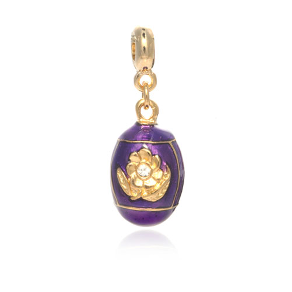 ME ME™  Gold Tone Purple Floral Egg Drop Charm