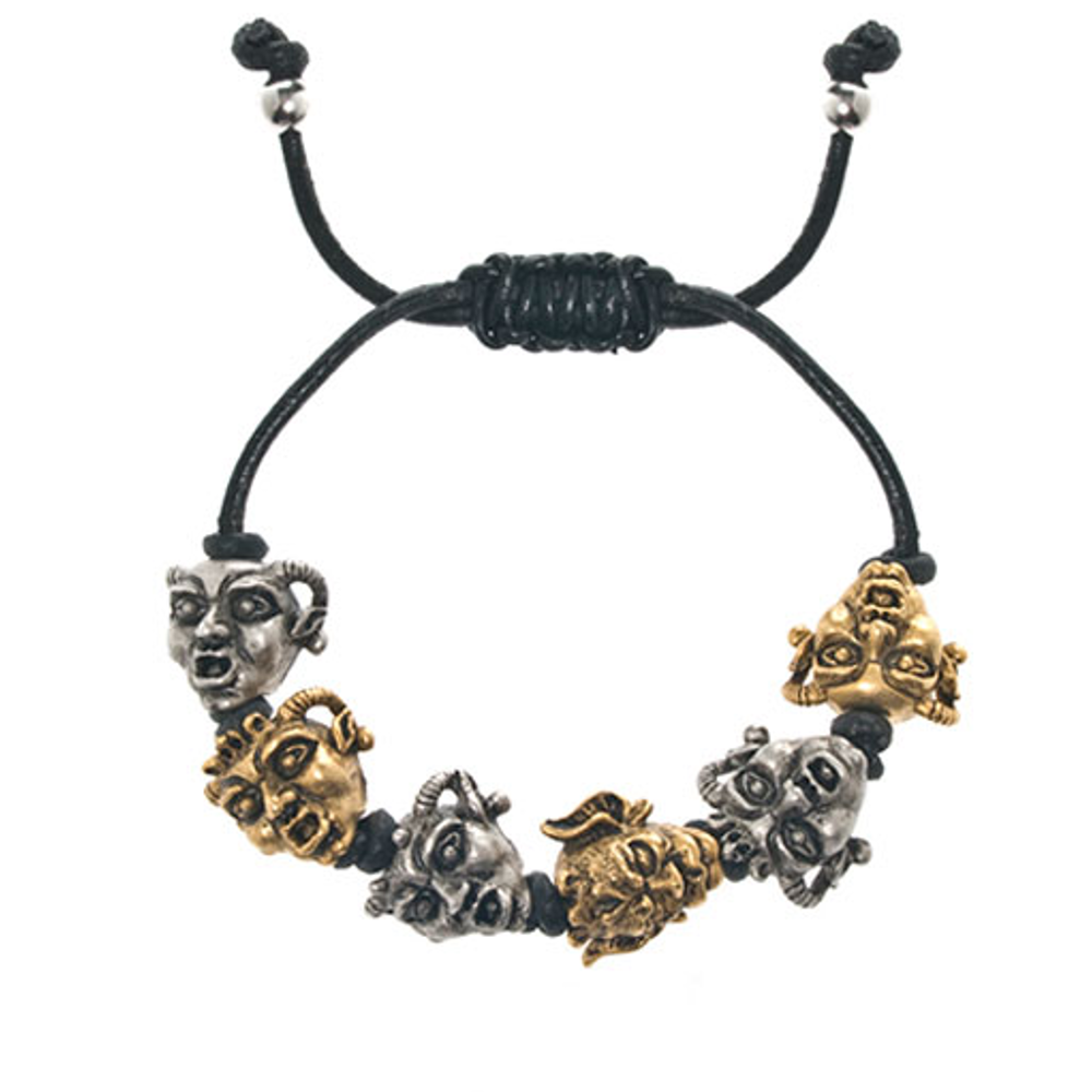 Gargoyles Gold and Silver Tone Black Leather Cord Bracelet
