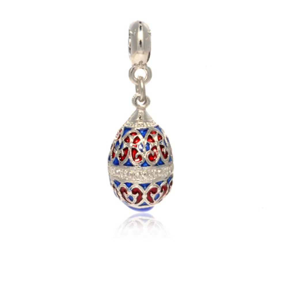 ME ME™ Silver Tone Red & Blue Scroll Egg Drop Charm