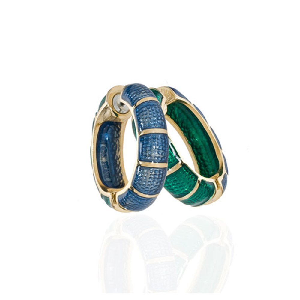Medium Goldtone Blue & Green Segmented Hoop-Eze Earrings