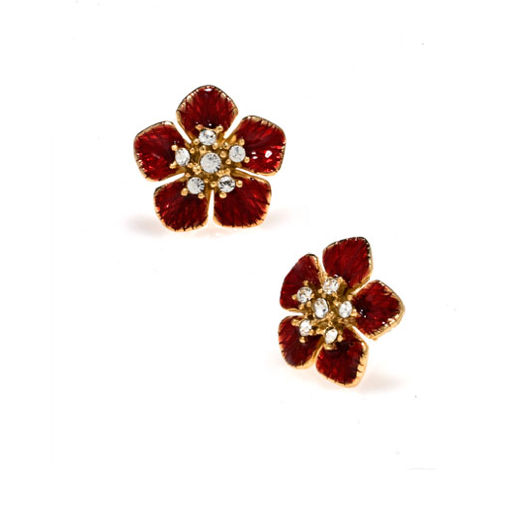 Garden of Love Red Small Flower Earrings