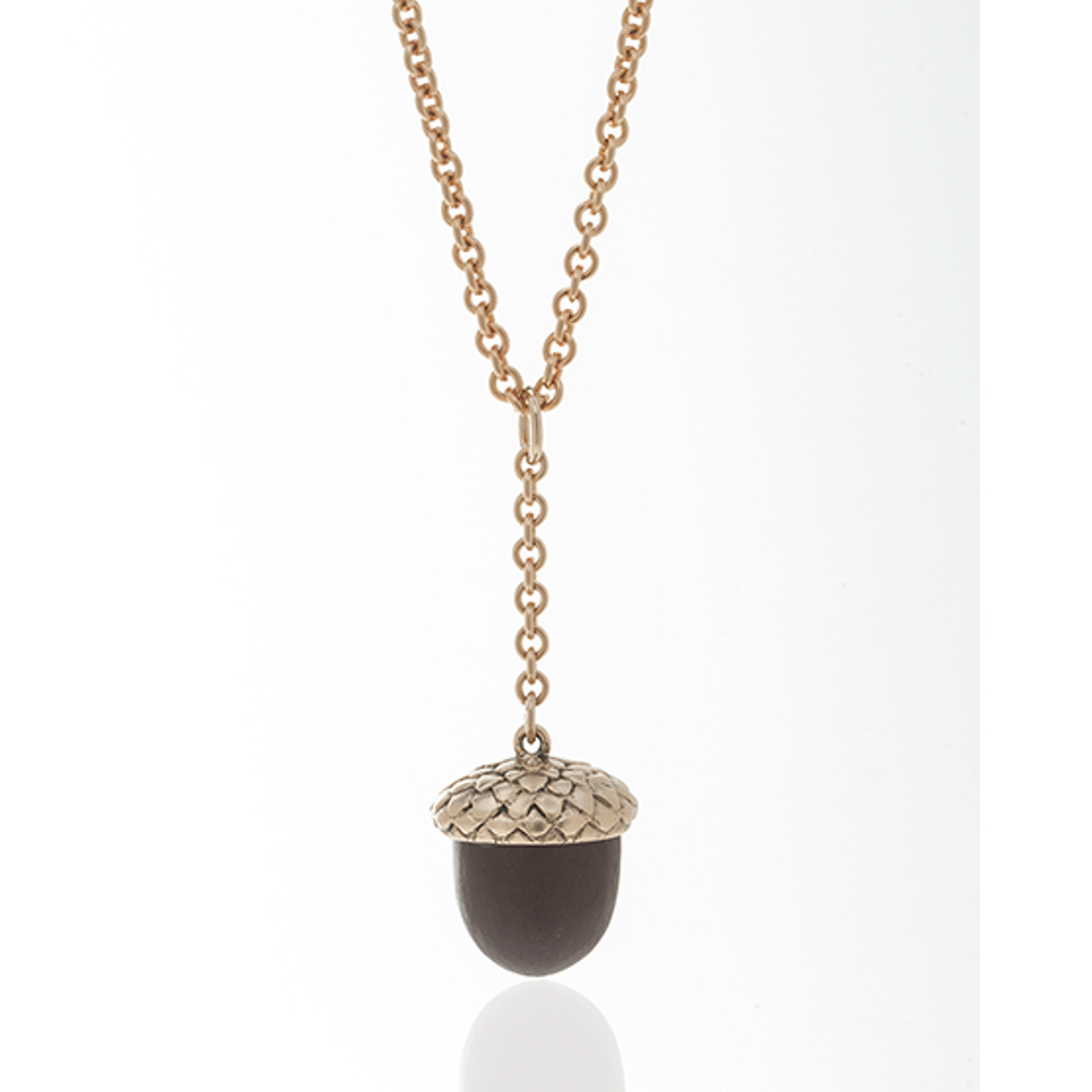 Winter in the Garden Brown Acorn Necklace