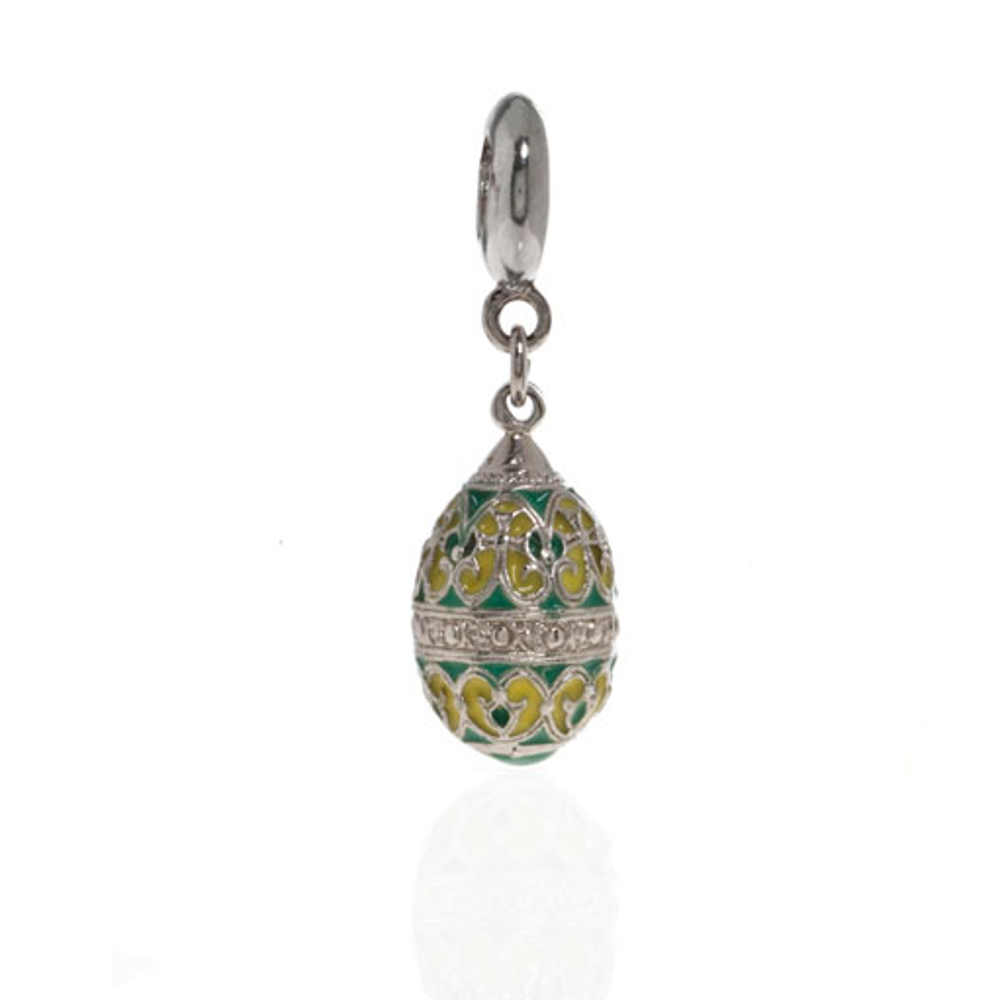 Me Me™ Silver Tone Yellow & Green Scroll Egg Drop Charm