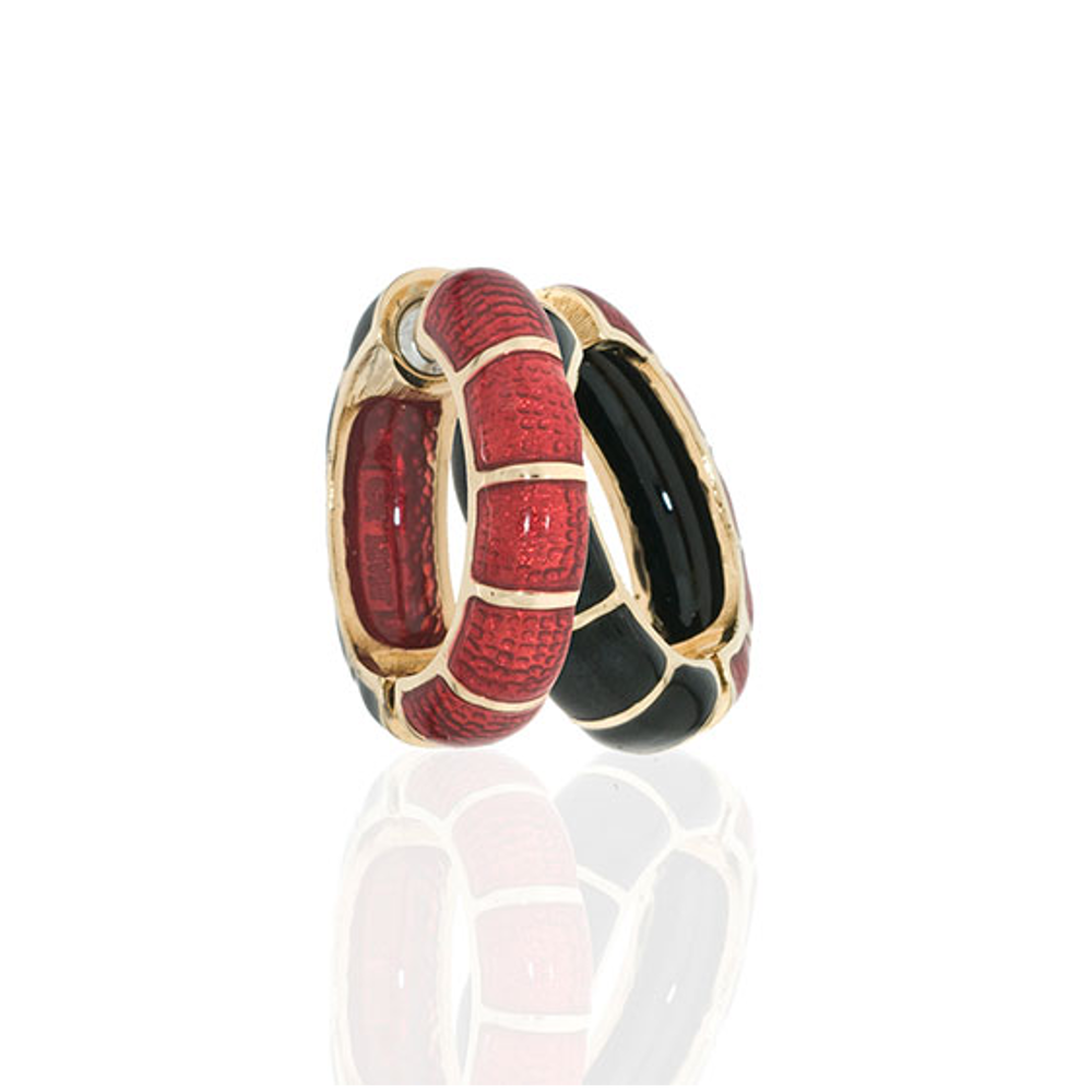Medium Goldtone Black & Red Segmented Hoop-Eze Earrings