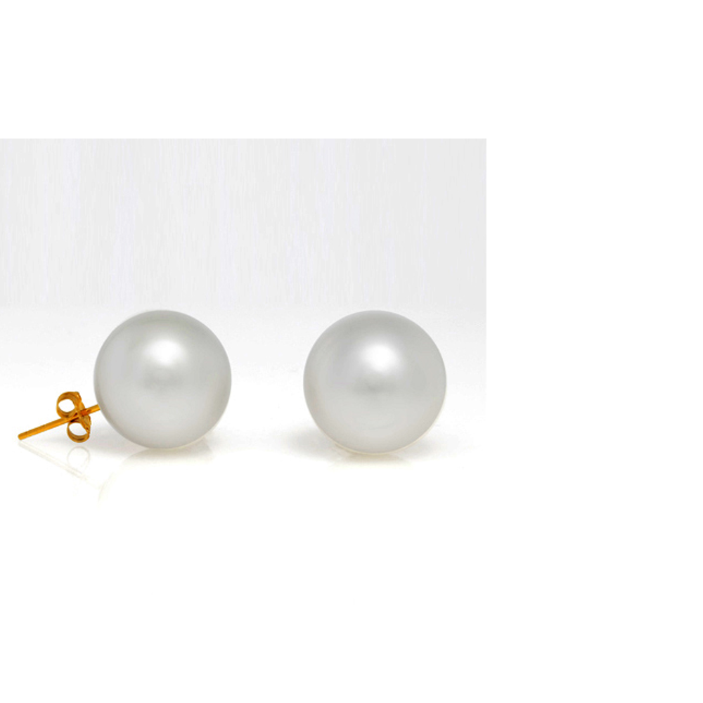 14KT Yellow Gold 14MM Freshwater Pearl Studs