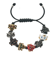 Gargoyles Enamel/Gold/Silver/Hematite Tone with Mixed Eyes Leather Cord Bracelet