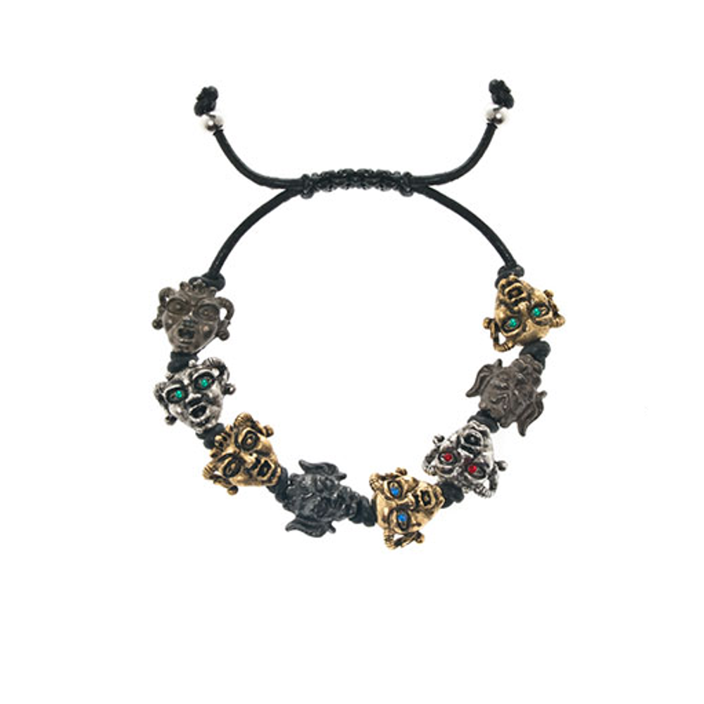 Gargoyles Gold/Silver/Hematite Tone with Mixed Eyes Leather Cord Bracelet