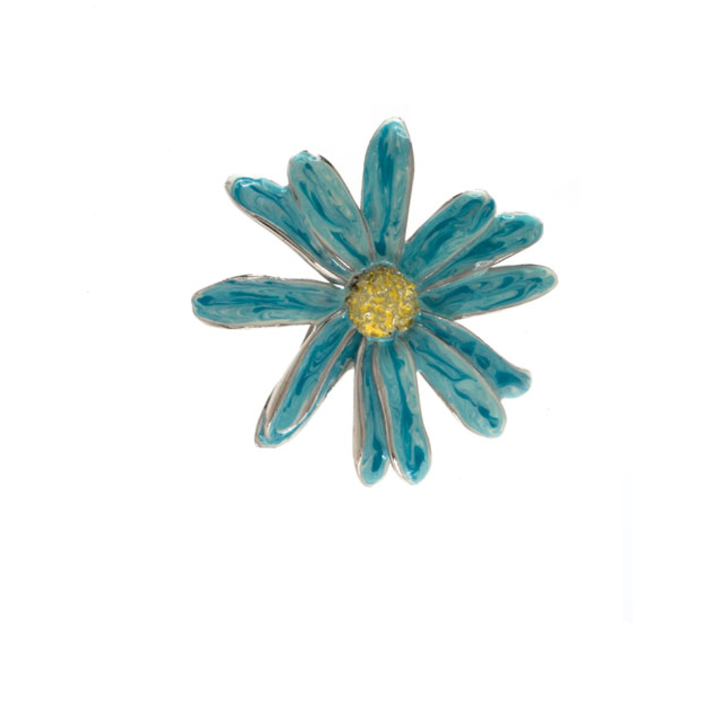 Blue Daisy Flower Pin