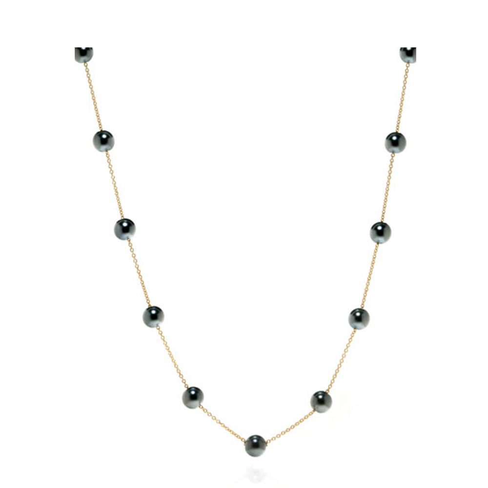 14K Black Pearl Illusion Necklace