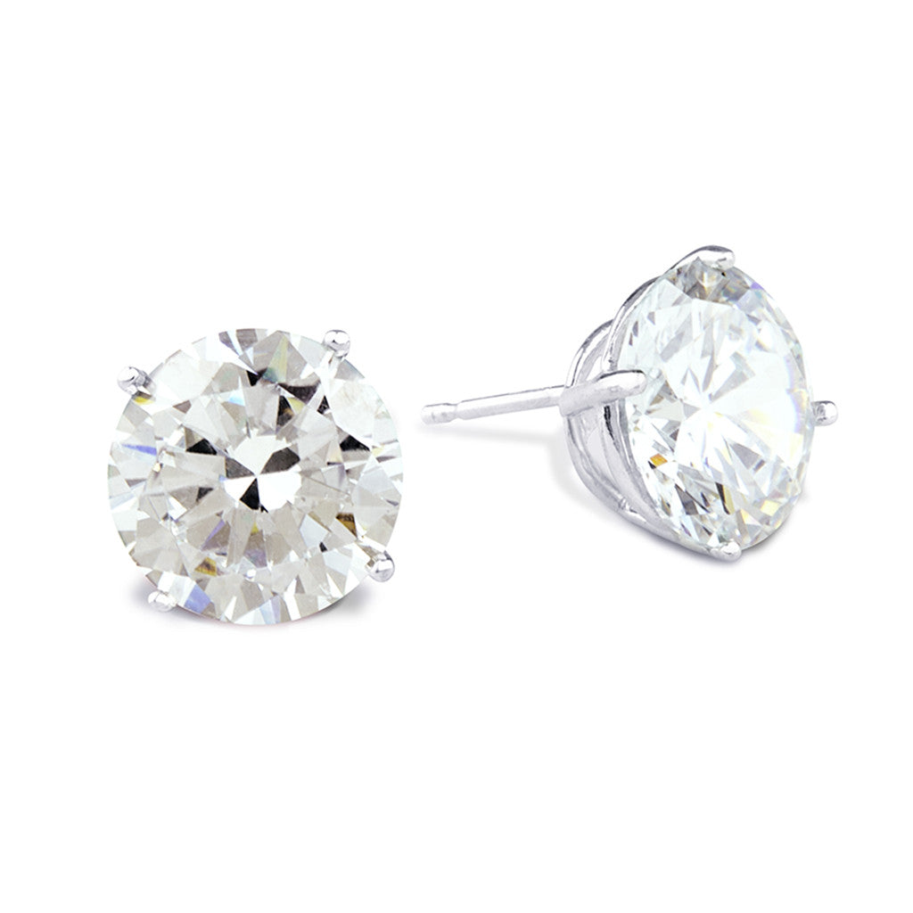 Sterling Silver Round Cut Stud Earrings
