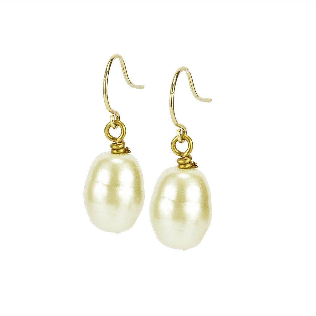 Kiska Pearl Eurowire Drop Earrings