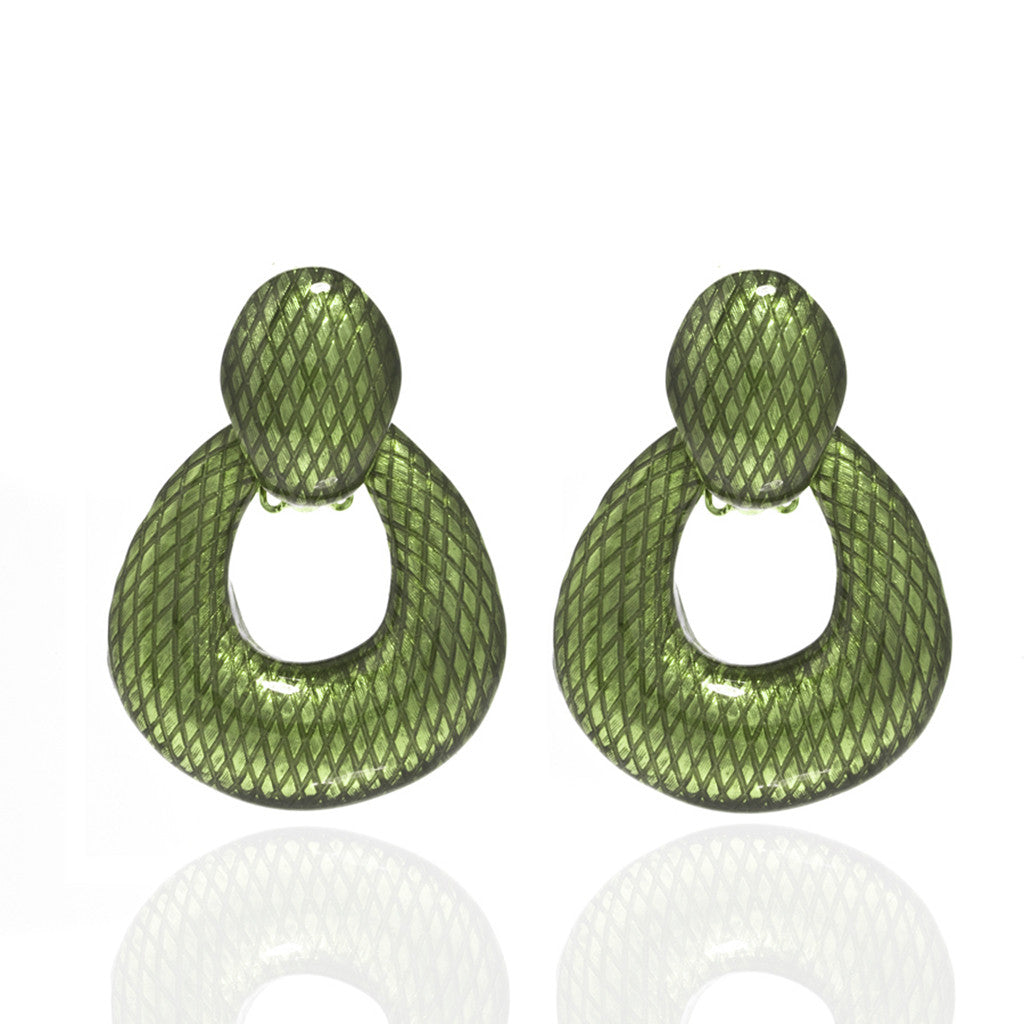 Green Open Tear Drop Earrings