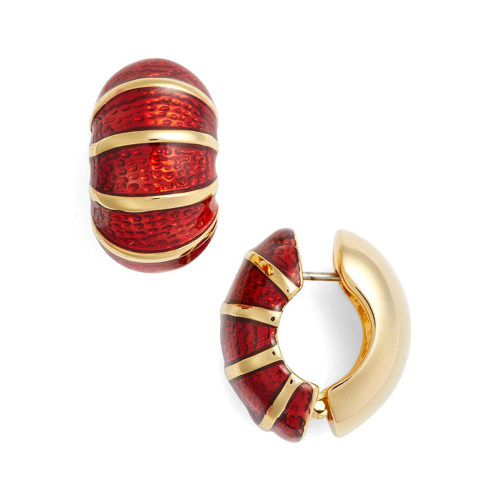 Goldtone Red Segmented Reversible Hugs®