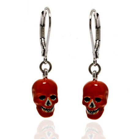 Lucky Skulls Red Enamel and Silvertone Drop Earrings