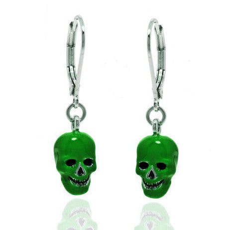 Lucky Skulls Green Enamel and Silvertone Drop Earrings