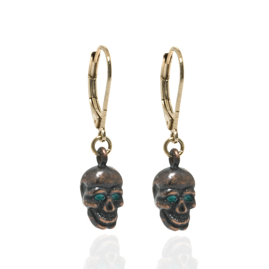 Copper Skull with Green Eyes Drop Earrings