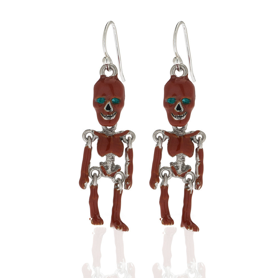 Rust Skeleton Earrings