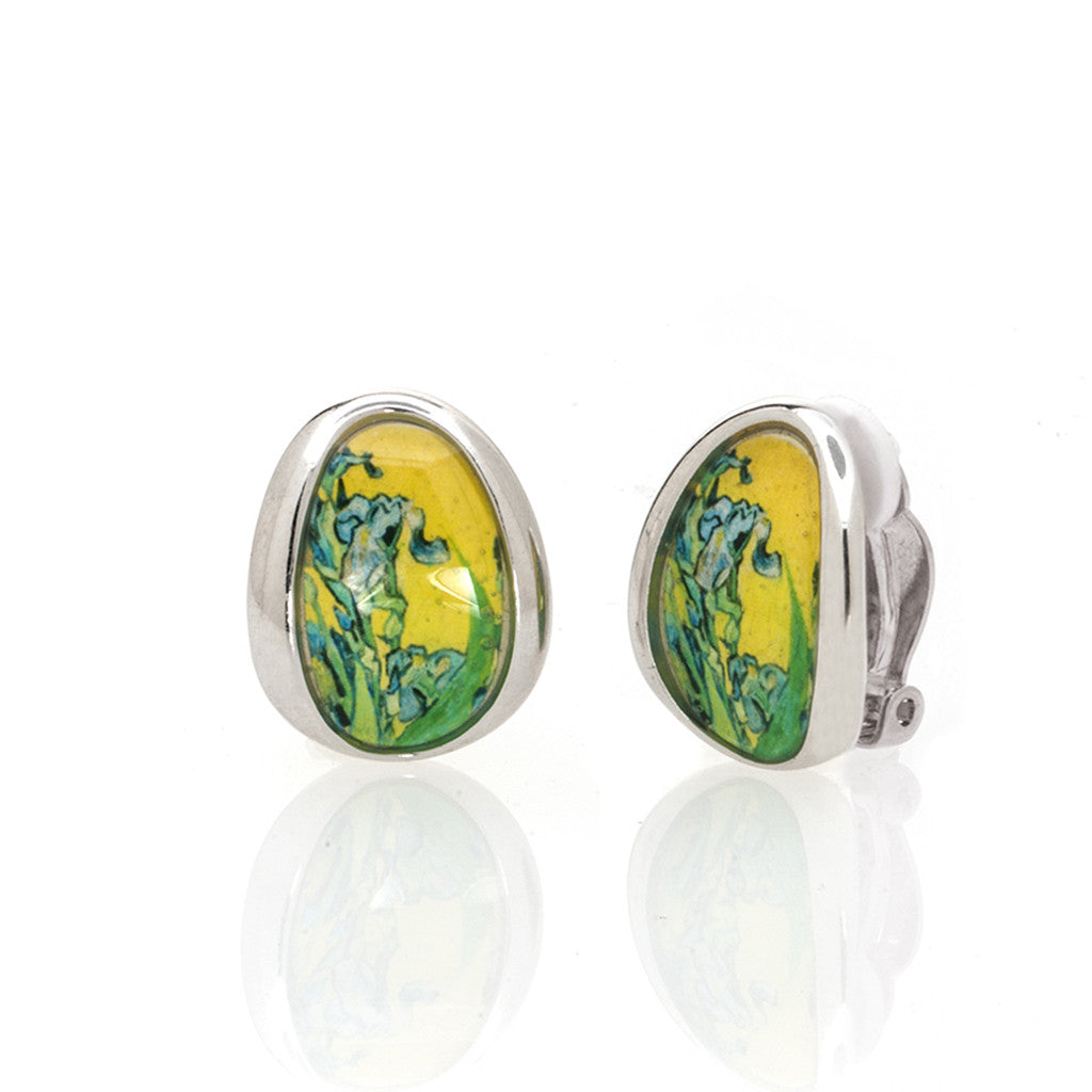 Van Gogh Silvertone Irises Button Earrings