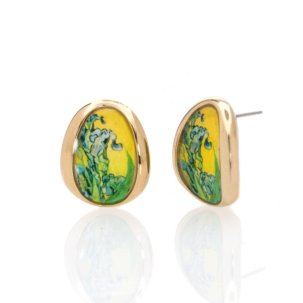 Van Gogh Goldtone Irises Button Earrings