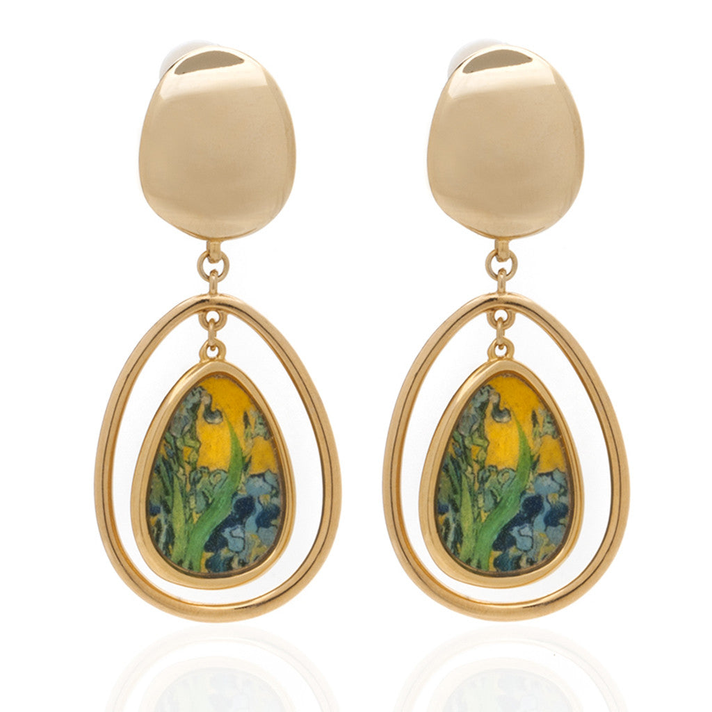 Van Gogh Goldtone Irises Drop Earrings