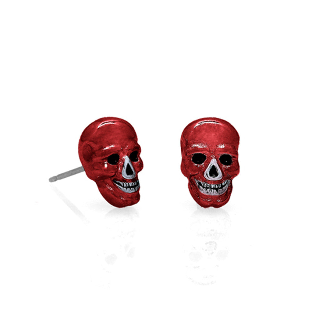 Lucky Skulls Red Enamel Earrings