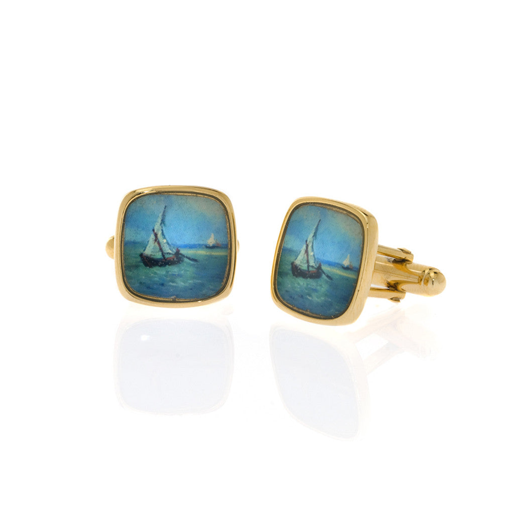 Van Gogh Sailboat Cufflinks