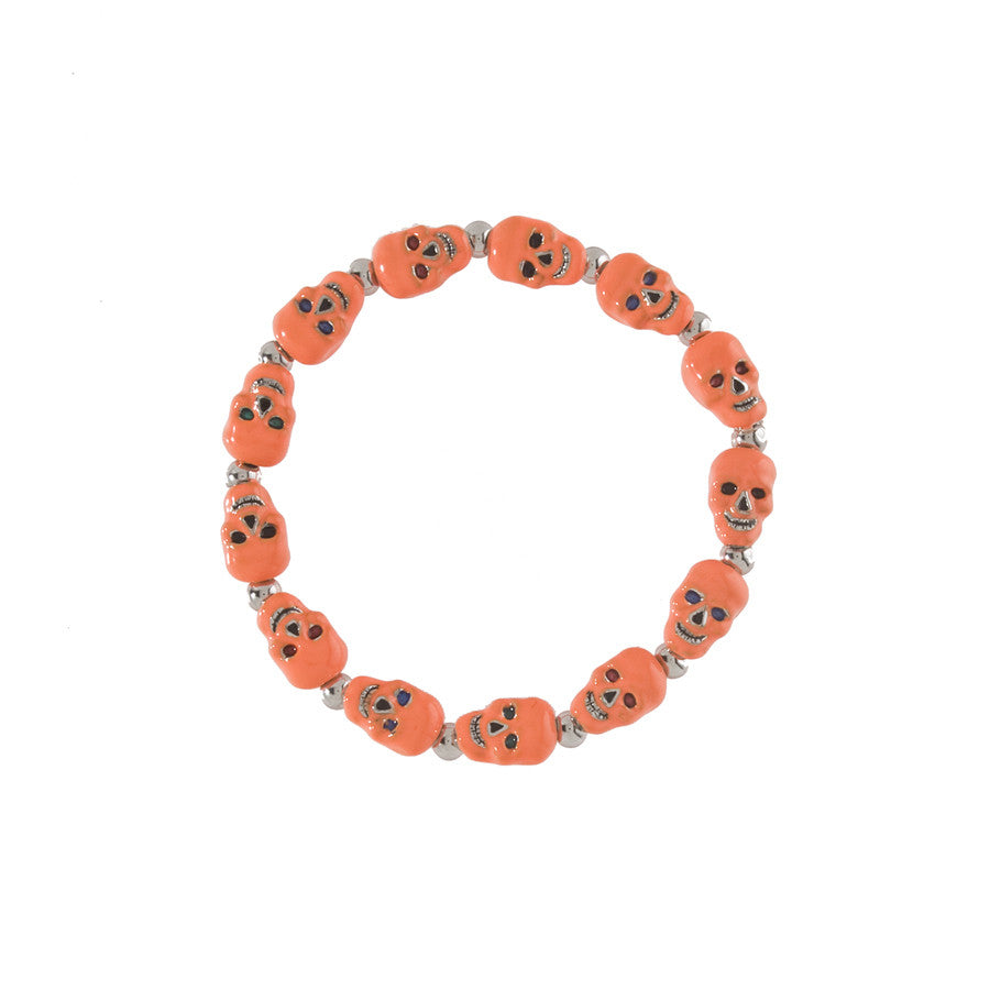 Lucky Skulls Orange Stretch Bracelet