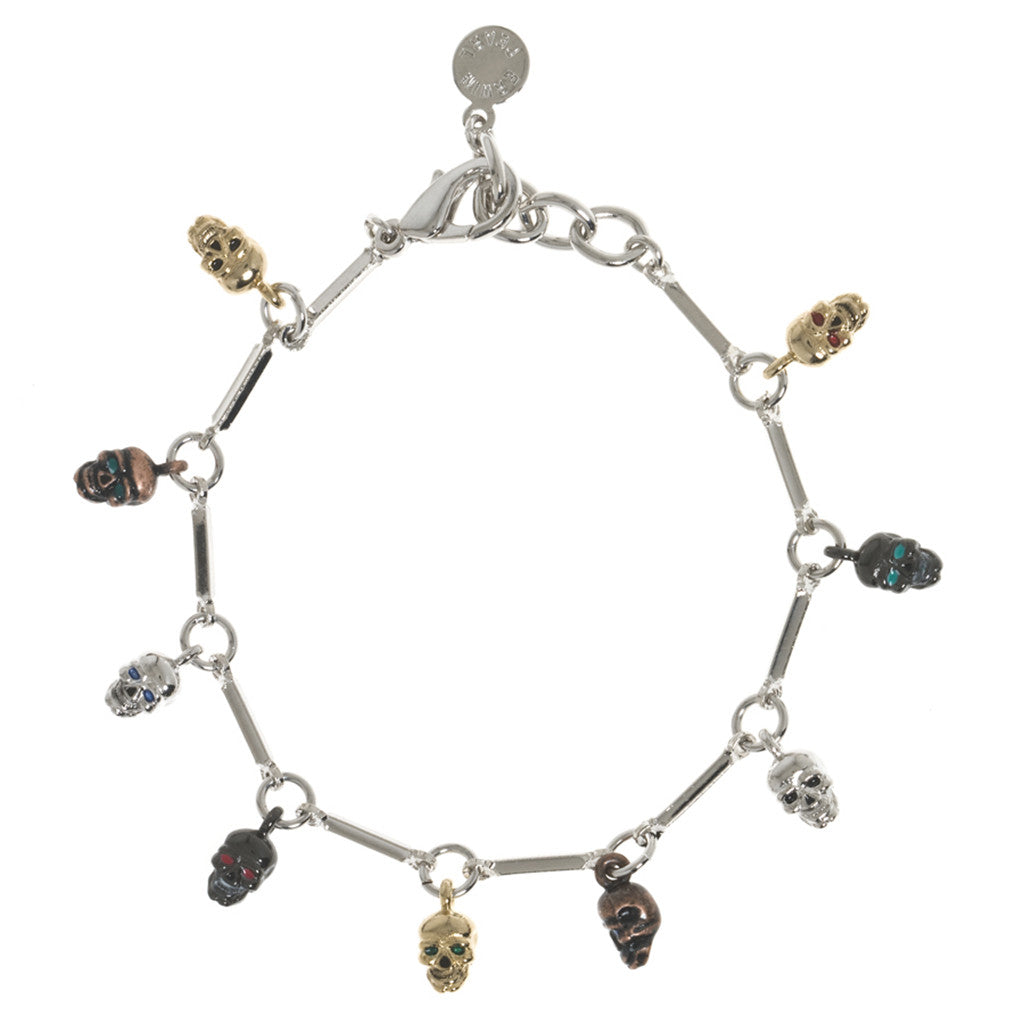 Silvertone Multi Color Small Skull Bracelet