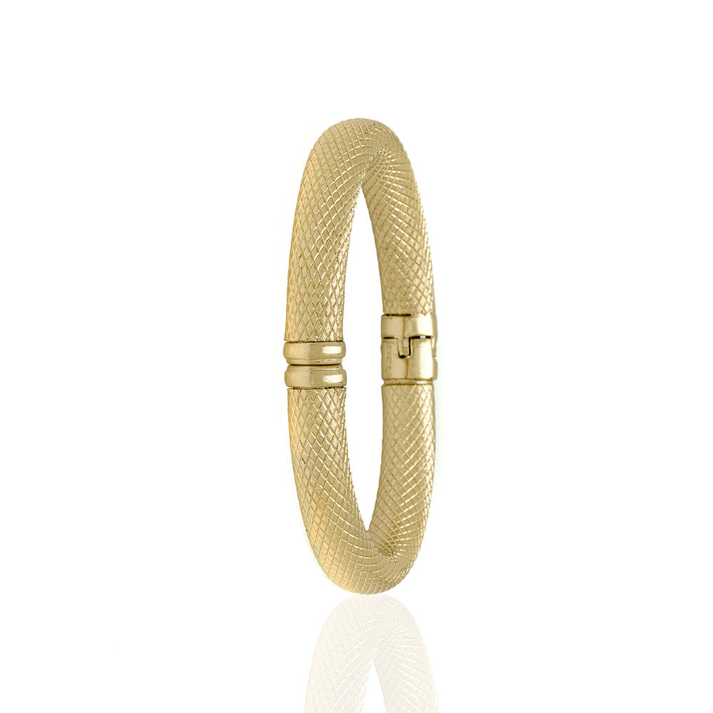 Snakeskin Gold Tone Bangle Bracelet Wide