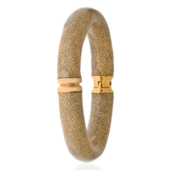 Snakeskin Gold Stardust Bangle Bracelet Wide
