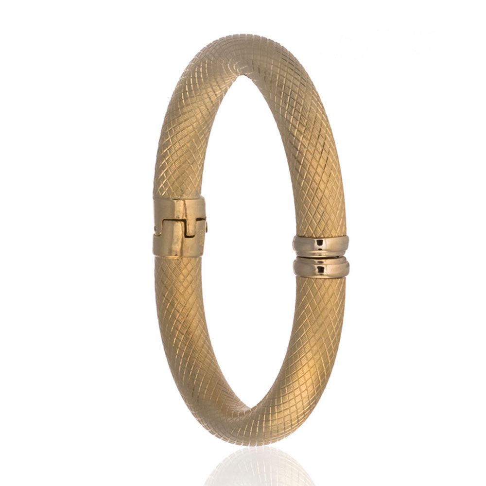Snakeskin Gold Tone Bangle Bracelet