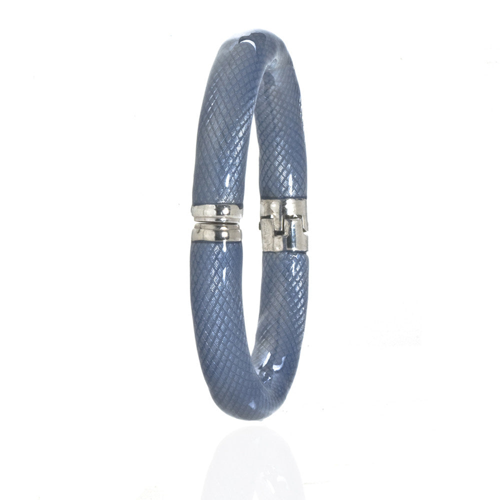 Blue  Snakeskin Bangle Bracelet Silvertone Magnetic Clasp