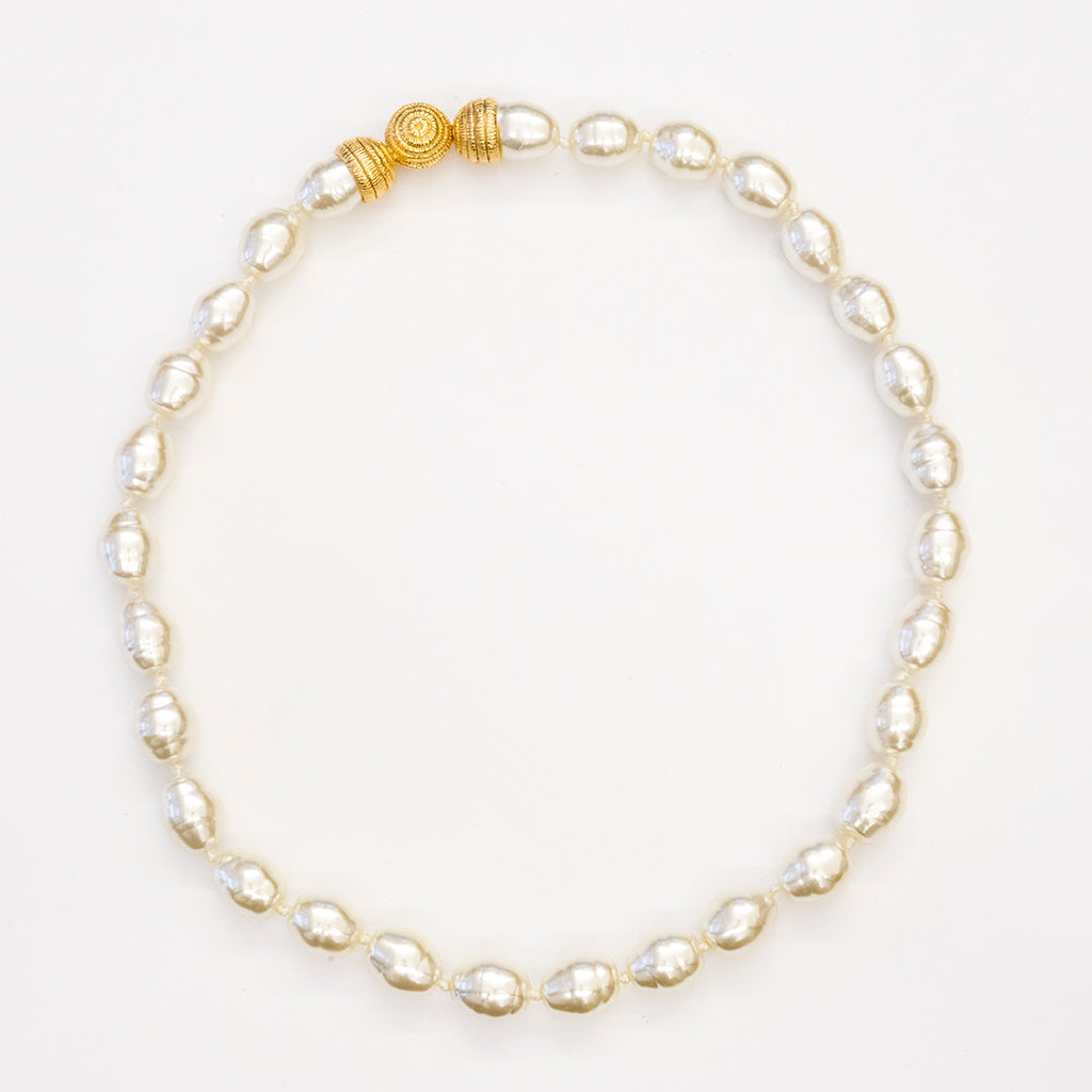 Goldtone 10mm Kiska Baroque Pearl Necklace 16""