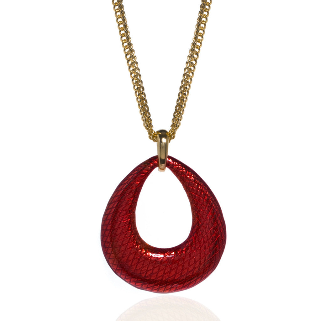 SnakeSkin Red Open Tear Pendant Necklace