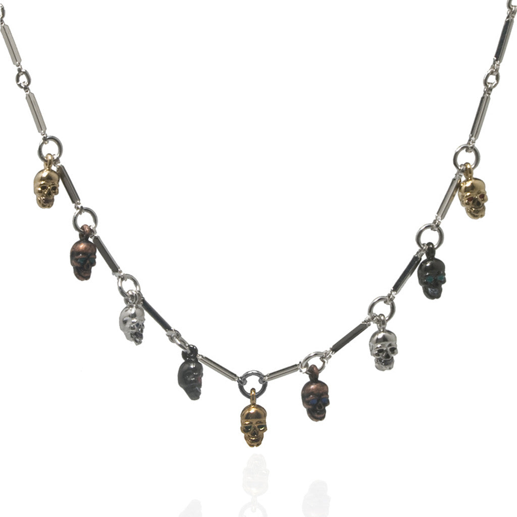 Silvertone Multi Color Small Skull Necklace