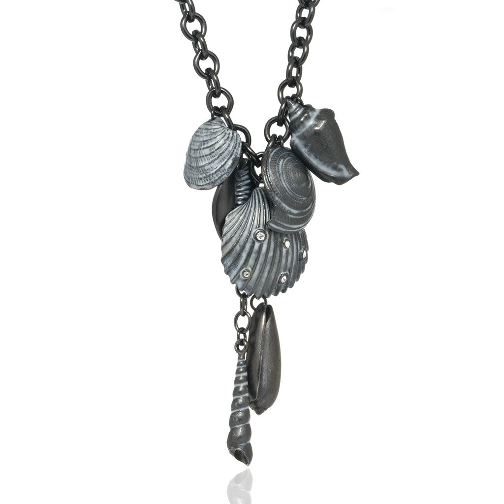 Mixed Seashells Crystal 7 Charm Drop Necklace