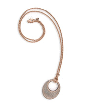 SnakeSkin Stardust Rose Gold Open Disc Pendant Necklace