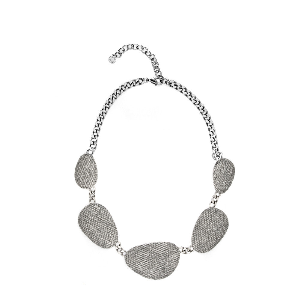 SnakeSkin Stardust Large Silvertone Multi Discs Collar Necklace